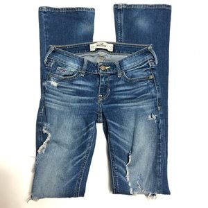 Hollister Distressed Boot Cut Jeans Size 00